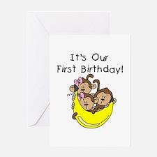 Triplets 1st Birthday Greeting Card