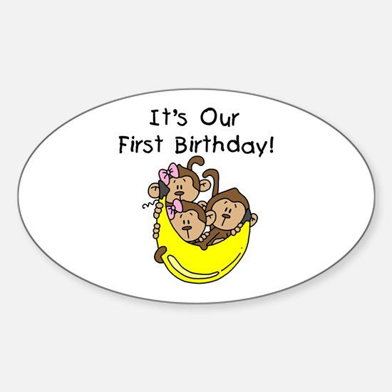 Triplets 1st Birthday Sticker (Oval)