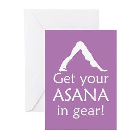 Yoga Get Your Asana In Gear Greeting Cards (Pk of