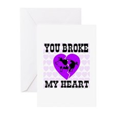 You Broke My Heart Pig Purple Greeting Cards (Pack