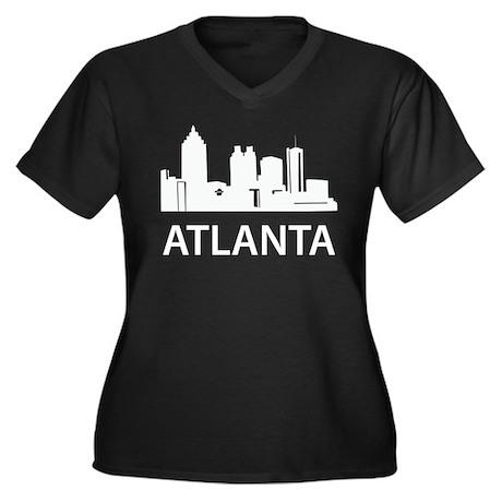 Atlanta Skyline Women's Plus Size V-Neck Dark T-Sh