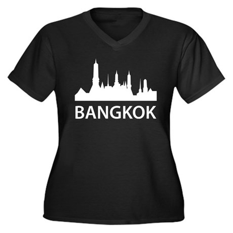 Bangkok Skyline Women's Plus Size V-Neck Dark T-Sh