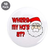 "Santa Ho 3.5"" Button (10 pack)"