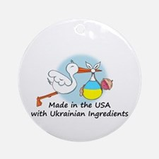 Stork Baby Ukraine USA Ornament (Round)