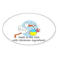 Stork Baby Ukraine USA Decal