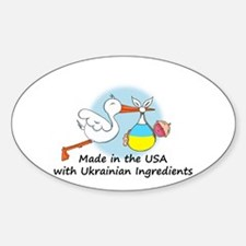 Stork Baby Ukraine USA Sticker (Oval)