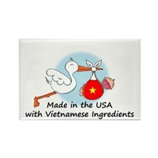 Stork Baby Vietnam USA Rectangle Magnet