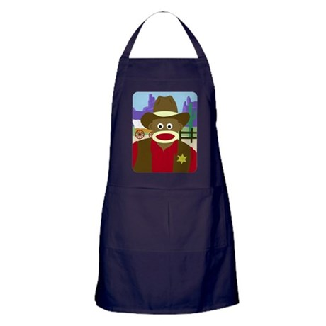 Sock Monkey Cowboy Apron (dark)