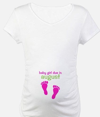 Baby Girl Due August Footprints Shirt