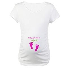 Baby Girl Due April Footprints Shirt