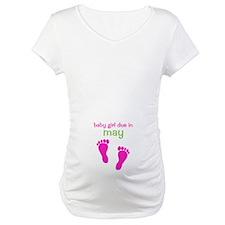 Baby Girl Due In May Footprints Shirt