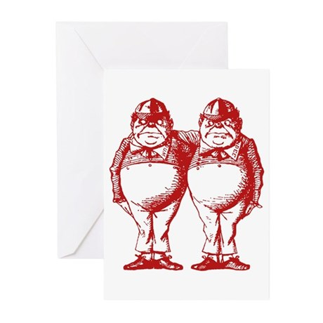 Tweedle Twins Red Greeting Cards (Pk of 10)