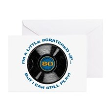 Scratched Record 80th Birthday Greeting Cards (Pk