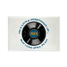 Scratched Record 80th Birthday Rectangle Magnet