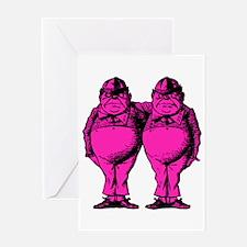 Tweedle Twins Pink Greeting Card