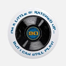 Scratched Record 90th Birthday Ornament (Round)