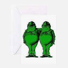 Tweedle Twins Green Greeting Card