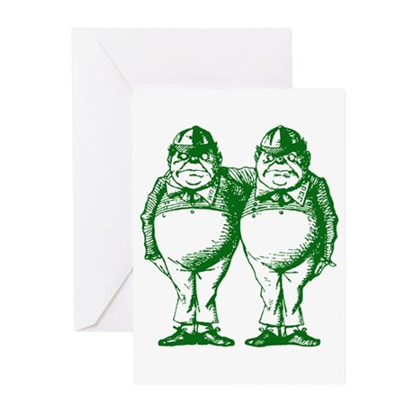 Tweedle Twins Green Greeting Cards (Pk of 10)