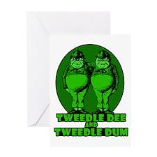 Tweedle Twins Logo Green Greeting Card