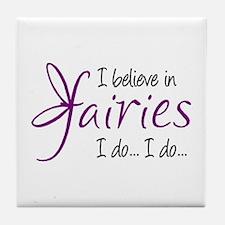 i believe in fairies color Tile Coaster