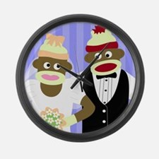 Sock Monkey Wedding Large Wall Clock