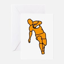 Orange Running Rugby Player Greeting Cards (Packag