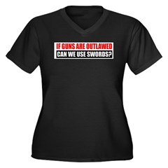 Can We Use Swords? Women's Plus Size V-Neck Dark T