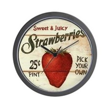 Pick Your Own Strawberries Wall Clock