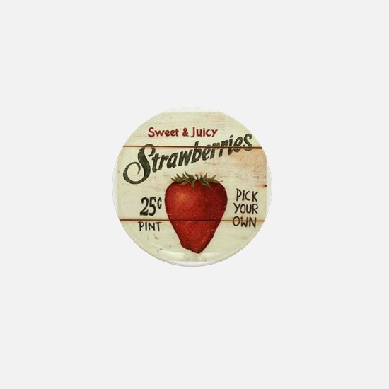 Pick Your Own Strawberries Mini Button