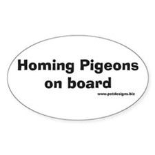 Homing Pigeons On Board Oval Decal