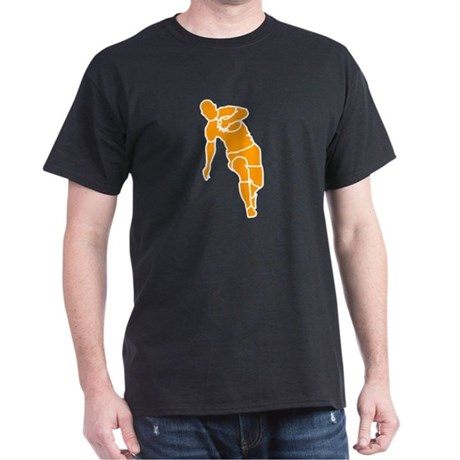 Orange Running Rugby Player Black T-Shirt