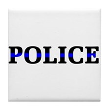 Police Blue Line Tile Coaster