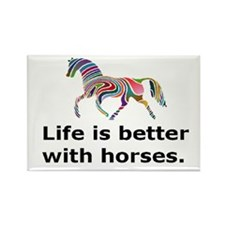 Cute Horse sports Rectangle Magnet (100 pack)