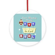 Sock Monkey Bowling Ornament (Round)