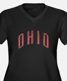 Ohio Grunge Women's Plus Size V-Neck Dark T-Shirt