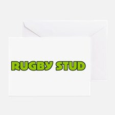 Funny Green Rugby Stud Greeting Cards (Package of