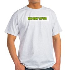 Funny Green Rugby Stud Ash Grey T-Shirt