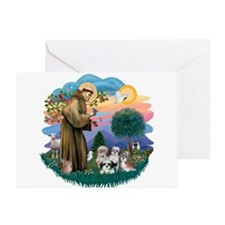 St Francis #2/ Shih Tzus (4) Greeting Card