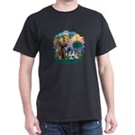 St Francis #2/ Shih Tzus (4) Dark T-Shirt