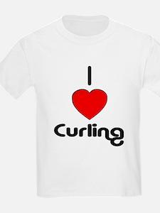 I Love Curling Kids T-Shirt