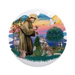 St Francis #2/ S Husky #2 Ornament (Round)