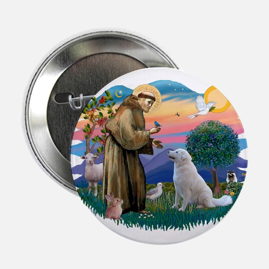 "St Francis #2/ Kuvacz 2.25"" Button"