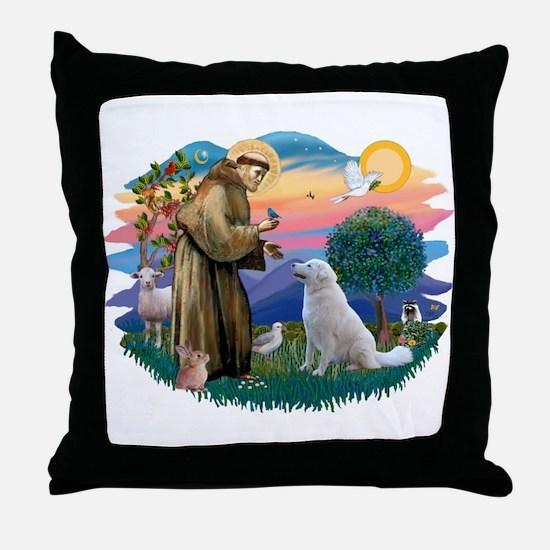 St Francis #2/ Kuvacz Throw Pillow