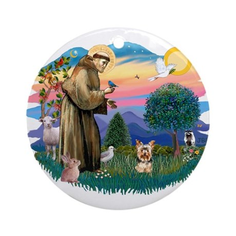 St Francis #2/ Yorkie #17 Ornament (Round)