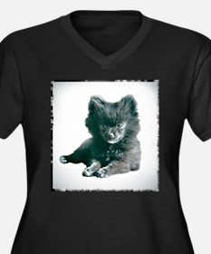 Adorable Black Pomeranian Puppy Women's Plus Size