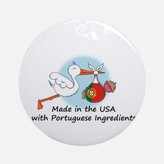Stork Baby Portugal USA Ornament (Round)