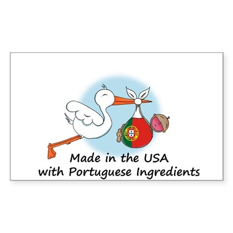 Stork Baby Portugal USA Sticker (Rectangle)