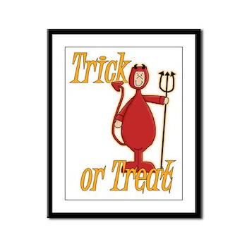 Trick or Treat Li'l Devil Framed Panel Print
