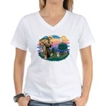 St Francis #2/ Yorkie #13 Women's V-Neck T-Shirt