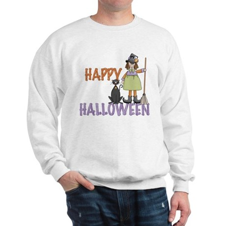 Halloween Witch and Cat Sweatshirt